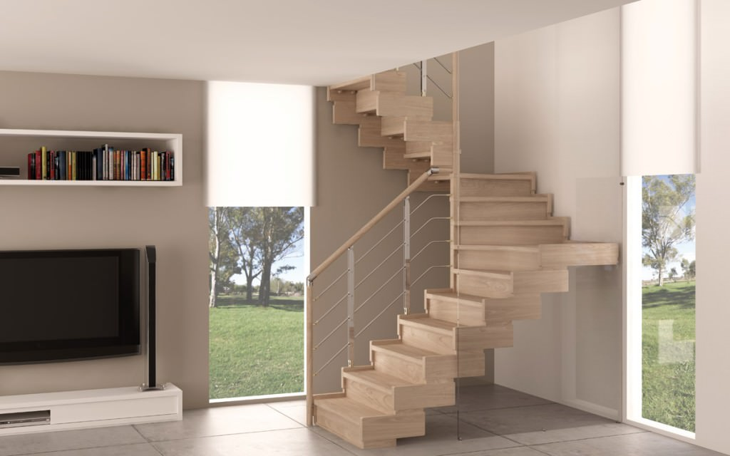 indoor wooden staircase rintal trasforma design