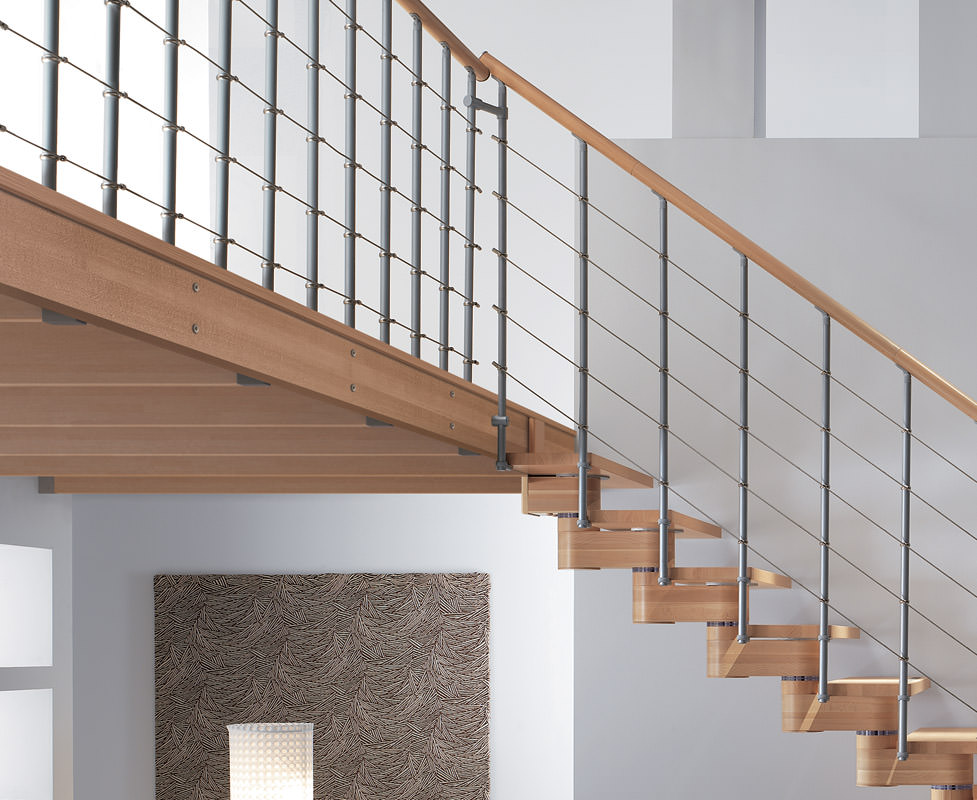 wooden and iron mezzanine rintal stairs
